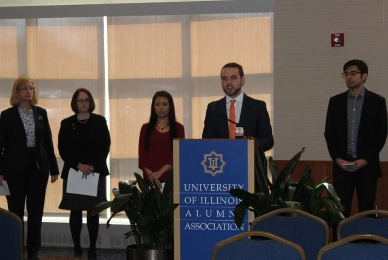 Members of the Illinois Coalition to Invest in Higher Education meet at the U of I's Alice Campbell Alumni Center.