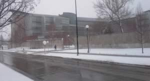 Seibel Hall at the University of Illinois during Wednesday's snowstorm.
