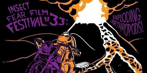 Purple and orange on black drawing of a giant cockroach racing away from an exploding volcano.