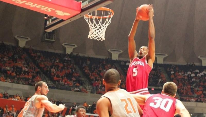 Indiana player Troy Williams grabs a rebound in Thursday's game against Illinois.