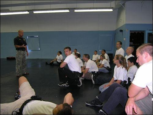 Michael Schlosser oversees a training session for police officers.