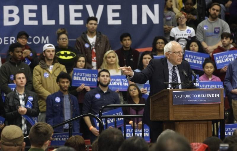Democratic presidential candidate, Sen. Bernie Sanders, I-Vt. speaks during a campaign rally at Southern Illinois University Edwardsville, Friday, March 4, 2016, in Edwardsville, Ill.