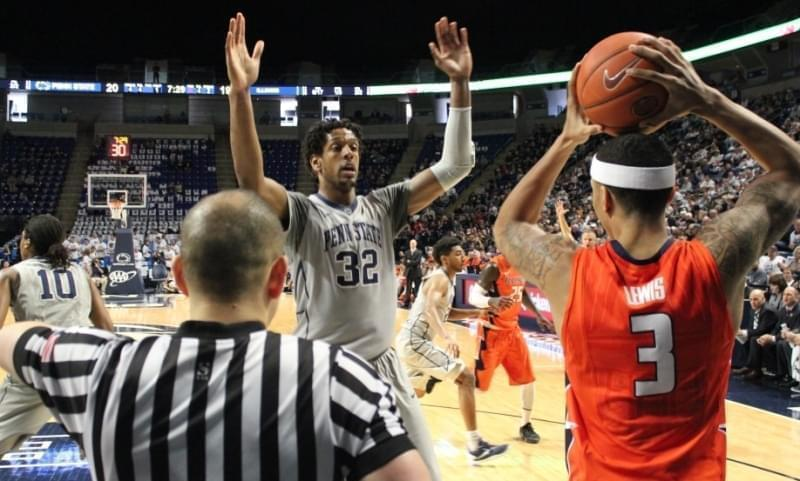 Photo caption: Illini Khalid Lewis looks to inbound the ball against Penn State's Jordan Dickerson.