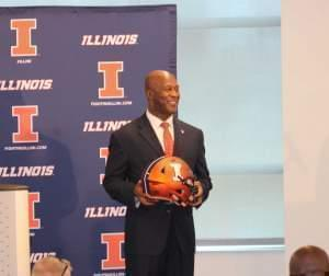 New Illini Football Coach Lovie Smith, after taking questions from reporters at The U of I's Bielfeldt Administration Building Monday.