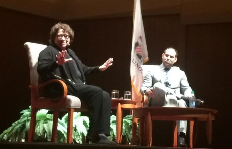 U-S Supreme Court JusticeSonia Sotomayor with Law Prof. Robin Kar at the University of Illinois Krannert Center