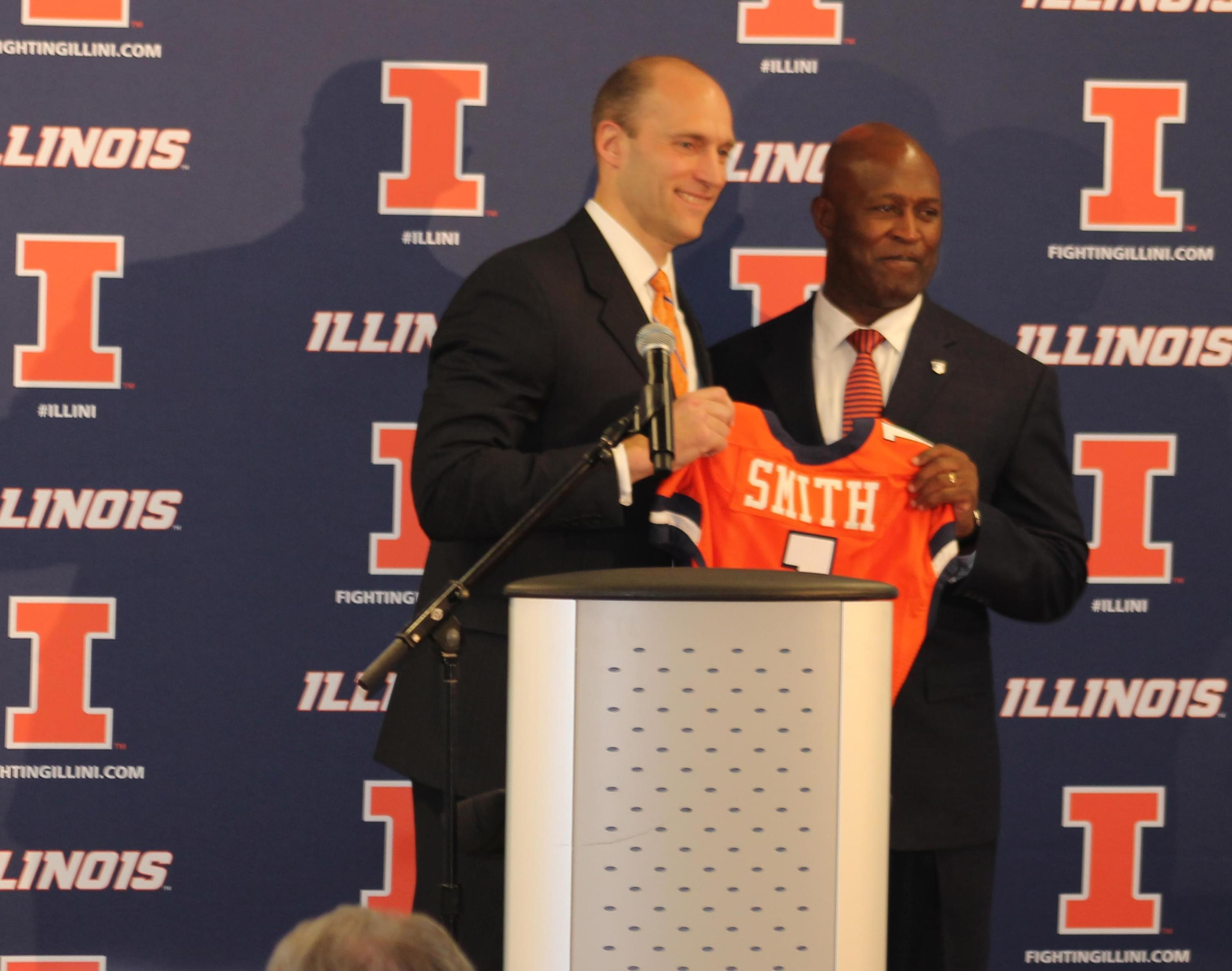 U of I Athletic Director Josh Whitman with new Illini Football Coach Lovie Smith at the announcement of his hiring.