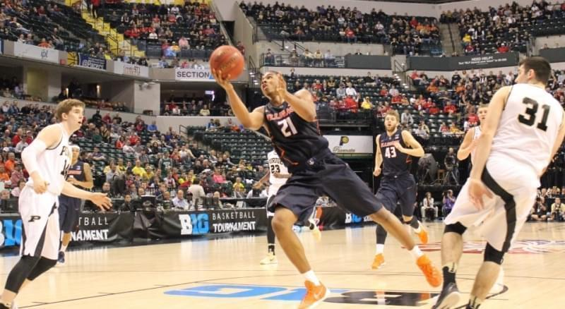 Malcolm Hill launches a shot against Purdue.