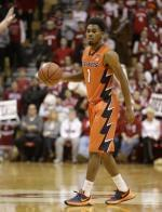 Illinois' Jaylon Tate (1) in action during the first half of an NCAA college basketball game against Indiana, Tuesday, Jan. 19, 2016, in Bloomington, Ind.