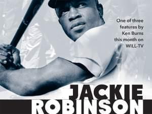 photo of Jackie Robinson at bat