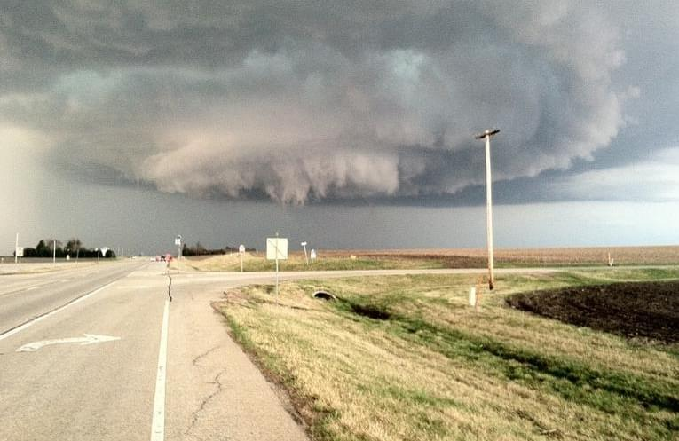 The storm that created the Good Hope tornado, as seen from Route 67 and Airport Road north of Macomb.