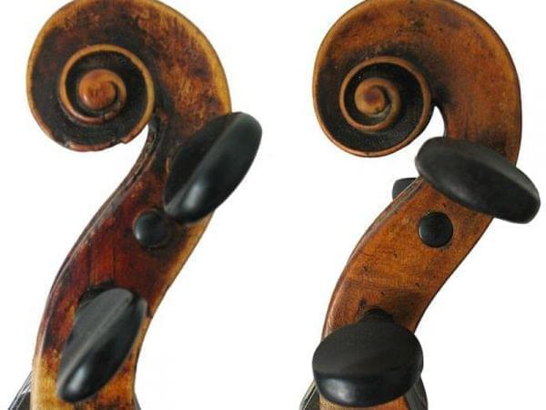 two violin scrolls