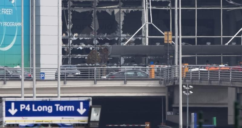 Blown out windows of Zaventem airport in Brussels, Belgium, after a deadly attack.