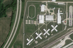 A satellite view of the Hill Correctional Center in Galesburg, IL.