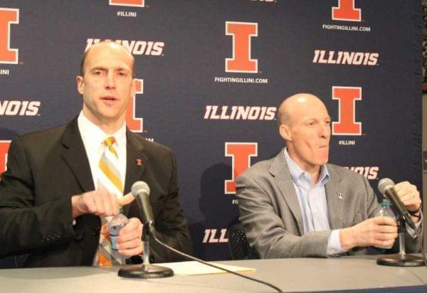U of I Athletic Director Josh Whitman with basketball coach John Groce at Memorial Stadium Thursday.