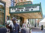 Marquee outside the Virginia Theatre in Champaign before the 2015 Eberfest.