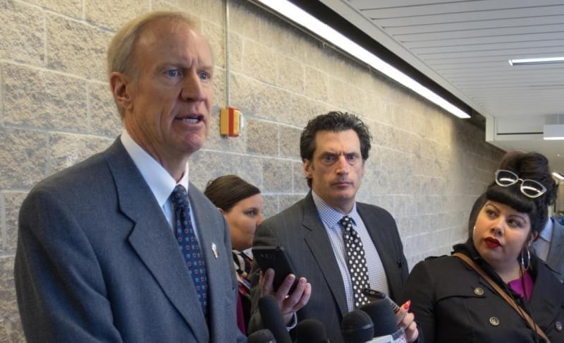 Gov. Bruce Rauner was on the University of Illinois Springfield campus to sign an executive order forming a health care fraud investigation task force.