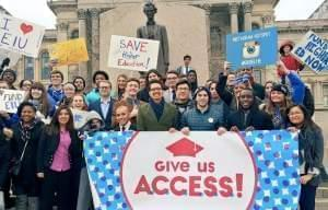 Supporters of the Student ACCESS bill demonstrate in Springfield.