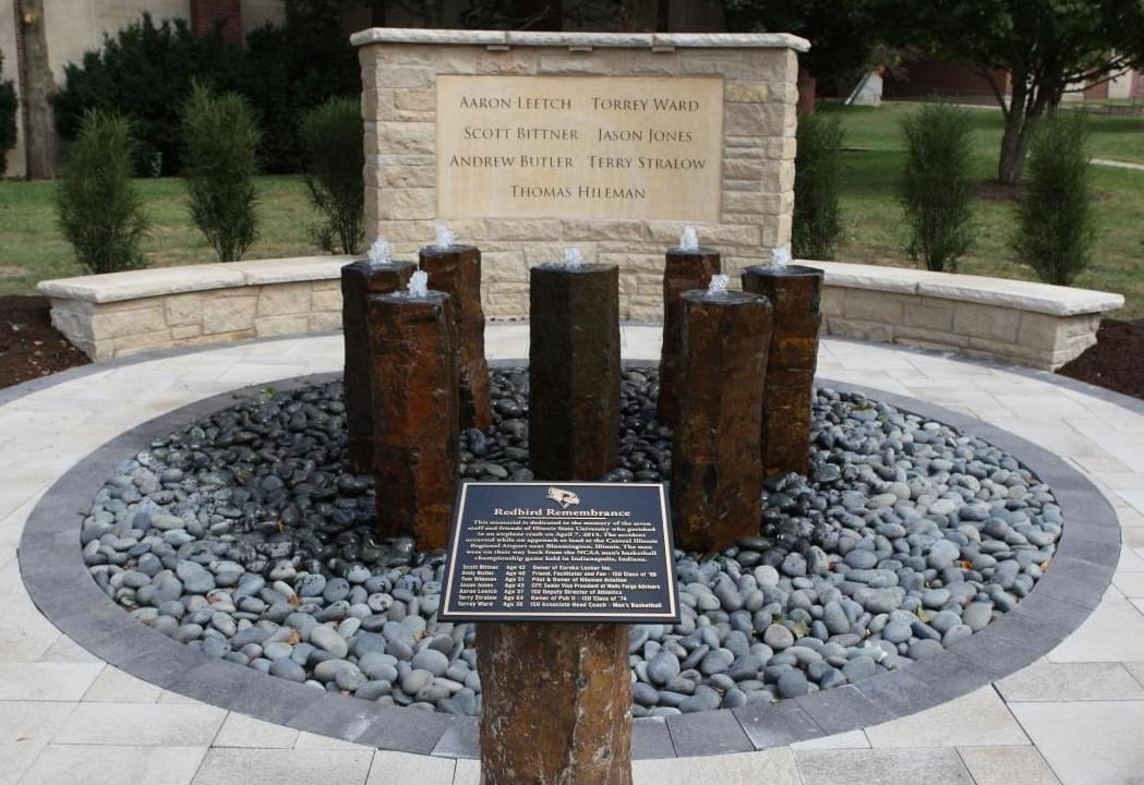 A memorial to those lost on April 7, 2015 outside Redbird Arena in Normal.