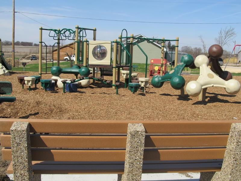 New playground equipment in the center of Fairdale