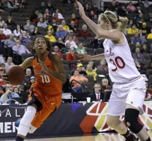 In this March 5, 2015, file photo, Illinois' Amarah Coleman, left, drives to the basket as Nebraska's Chandler Smith guards during an NCAA college basketball game in Hoffman Estates, Ill