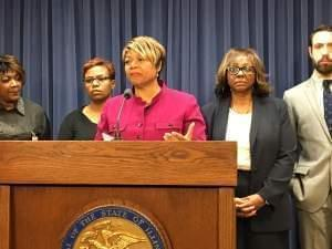 State Sen. Patricia Van Pelt, D-Chicago, discusses her bill at a press conference. On the right is Sen. Mattie Hunter, D-Chicago.