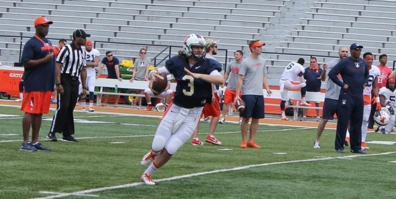Quarterback Jeff George, Jr. throws a pass during spring practice on Saturday April 16.