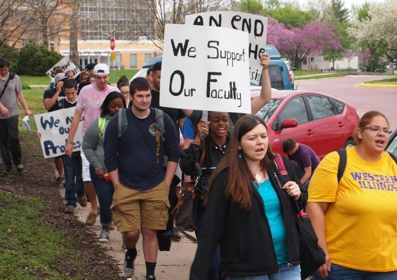 Students demonstrate for higher education funding on the campus of Western Illinois University in Macomb.