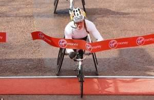 Tatyana McFadden wins the women's wheelchair race in the 2016 London Marathon.