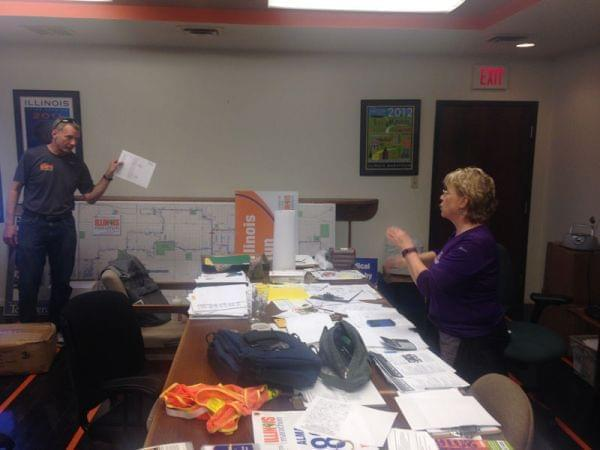 Mike Lindemann and Jan Seeley at the Illinois Marathon office in Urbana