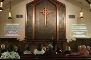 Michael Chrzastowski teaches his first class in his series, Gaining a Christian Understanding of the Qur'an, at entered First Presbyterian Church in Champaign, IL.