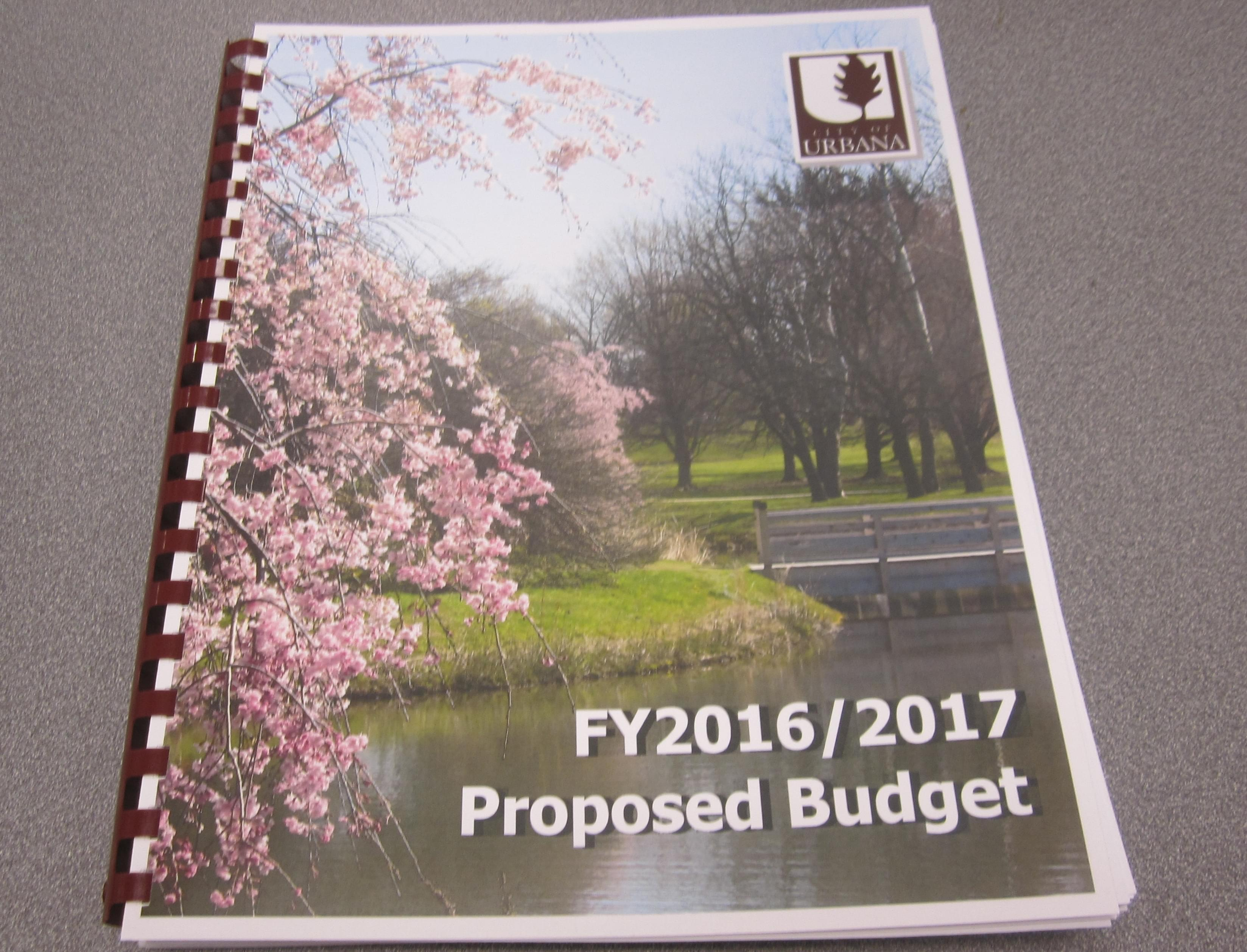 Urbana's 269-page fiscal 2017 budget proposal, released Monday.