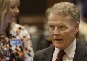 Illinois Speaker of the House Michael Madigan, D-Chicago, speaks to lawmakers while on the House floor during session at the Illinois State Capitol Tuesday, May 17, 2016, in Springfield.