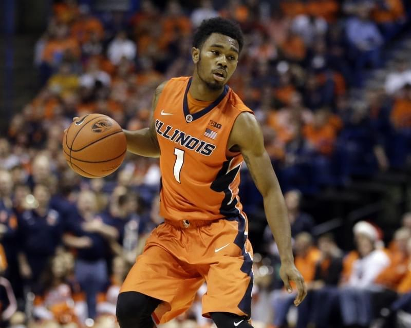 Illinois' Jaylon Tate brings the ball down the court during the first half of a game against Missouri Wednesday, Dec. 23, 2015, in St. Louis.