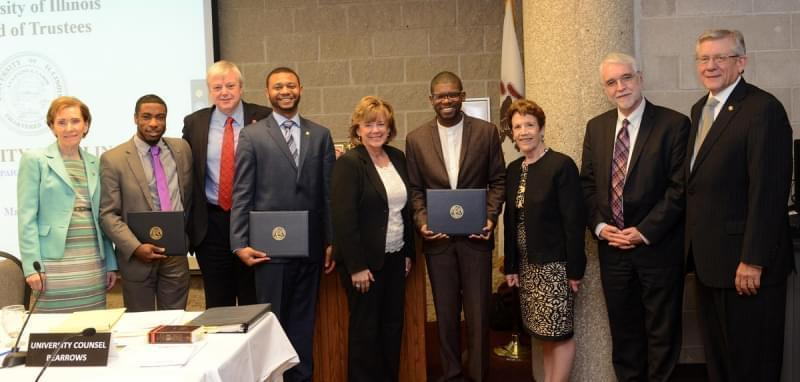 Student trustees received certificates at the final U of I board meeting of 2015-16.