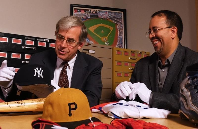 U of I History Professor Adrian Burgos with National Baseball Hall of Fame Curator John Odell