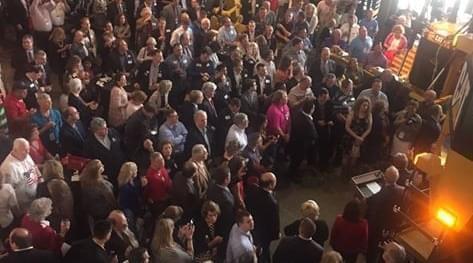 Gov. Bruce Rauner address Illinois GOP Convention delegates in Peoria.
