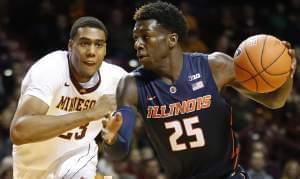 Former Illinois guard Kendrick Nunn (25) drives the ball around Minnesota forward Charles Buggs (23) in the first half of an NCAA college basketball game Saturday, Jan. 23, 2016 in Minneapolis.