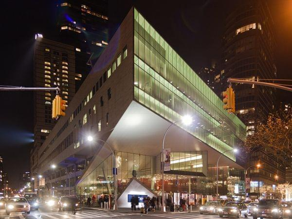 Alice Tully Hall and the Juilliard School at night.