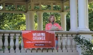 Mary Kay Mace, the mother of NIU shooting victim Ryanne Mace, addressed a crowd at Champaign's Westside Park Thursday.