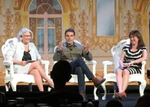 Rebecca Eaton, Rufus Sewell and Daisy Goodwin converse in front of an audience.