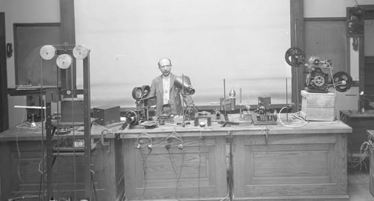 Joseph Tykociner and his equipment for sound-on-film movies.
