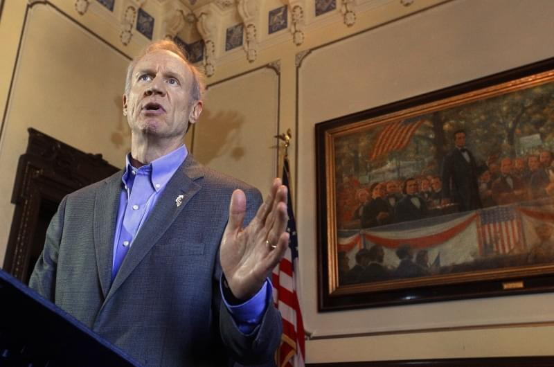 Illinois Gov. Bruce Rauner speaks to reporters in his office at the Illinois State Capitol Wednesday, June 15, 2016, in Springfield.