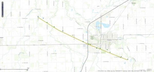 The path of the tornado that struck Pontiac, IL on Wednesday night.