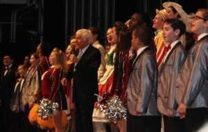 Dick Van Dyke and members of the Danville High School show choir perform 'Let's Go Fly A Kite' to close out Friday's concert.