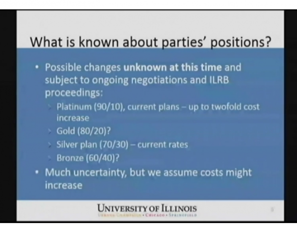 Graphic from Monday's meeting on the Chicago campus looks at possible changes to UI employee health insurance premiums.