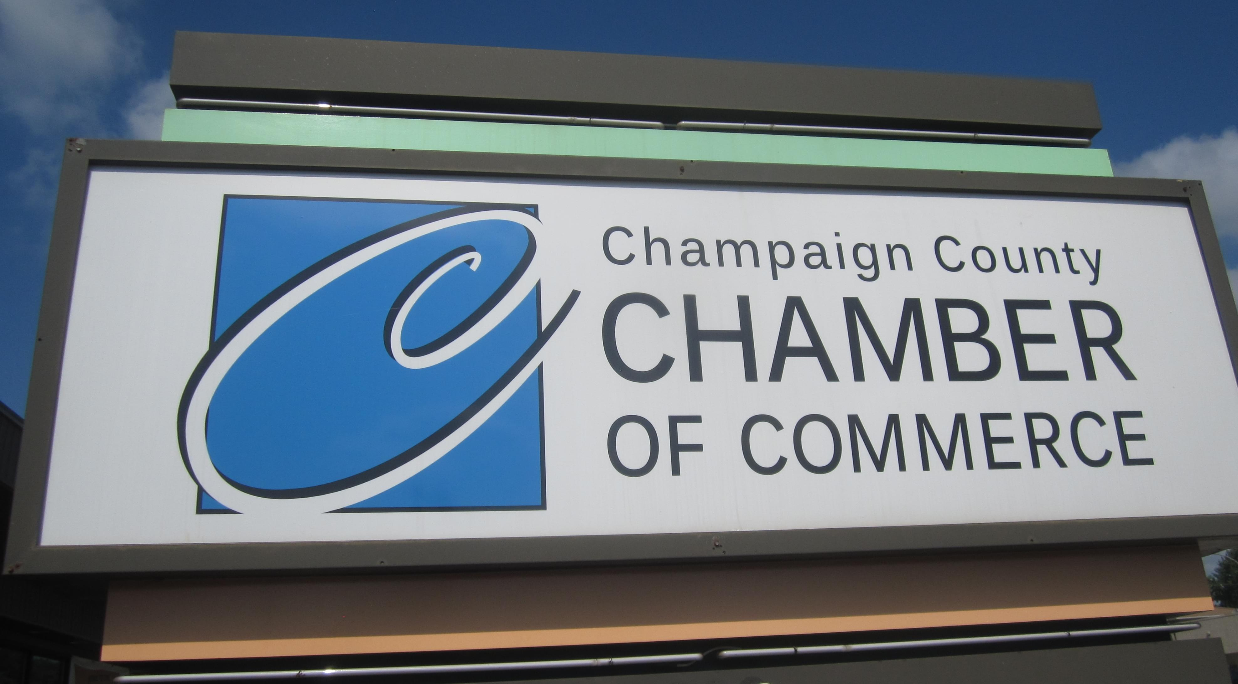 Sign for the Champaign County Chamber of Commerce.