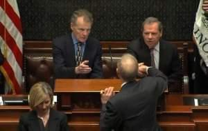 House Speaker Michael Madigan & Sen. President John Cullerton greet Gov. Bruce Rauner.