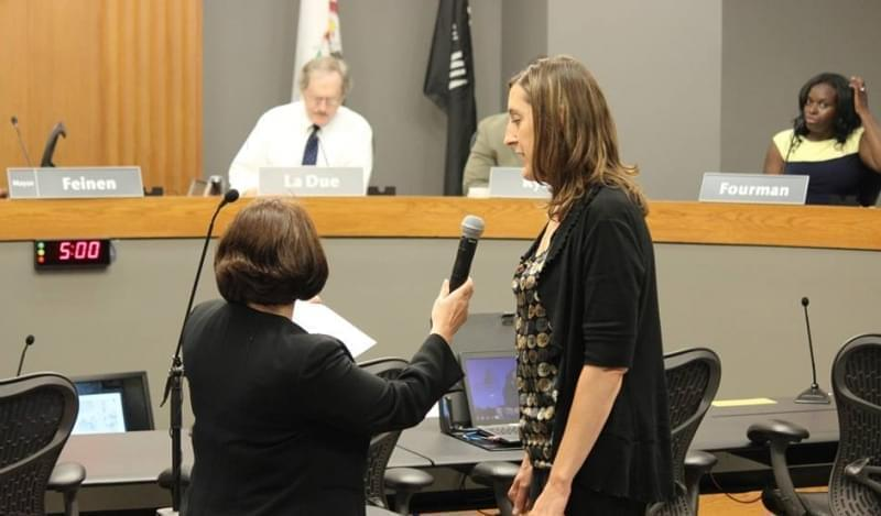 Angie Brix is sworn in, after being appointed to the District Three Champaign City Council seat.
