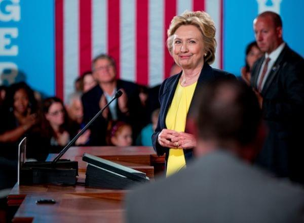 Democratic presidential candidate Hillary Clinton smiles after speaking at the Old State House in Springfield Wednesday,