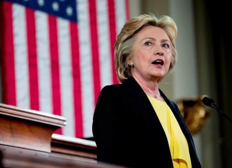 Hillary Clinton at the Old State Capitol in Springfield.